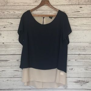 Torrid Navy Cream Short Sleeve Split Back Top 1X
